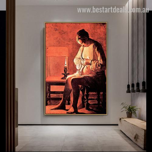 Woman Catching A Flea Georges De La Tour Figure Baroque Smudge Picture Canvas Print For Room Wall Garnish