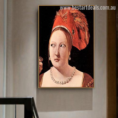 Woman's Head Georges de La Tour Figure Baroque Smudge Pic Canvas Print for Room Wall Decor