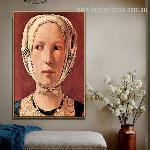 Woman's Head Frontally Georges de La Tour Figure Baroque Portraiture Image Canvas Print for Room Wall Arrangement
