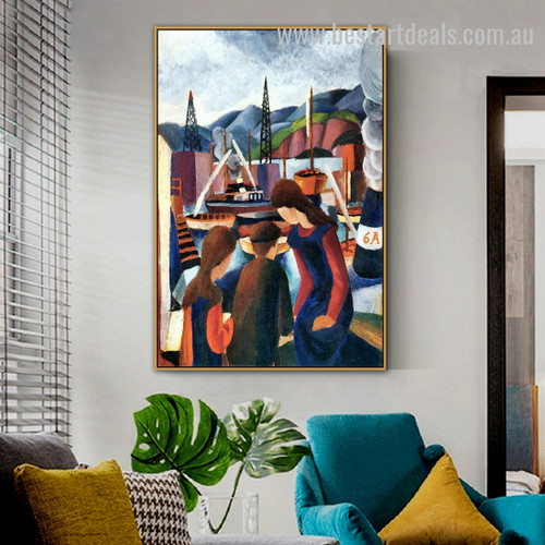 Children at the Harbor August Macke Figure Expressionism Painting Pic Canvas Print for Room Wall Outfit