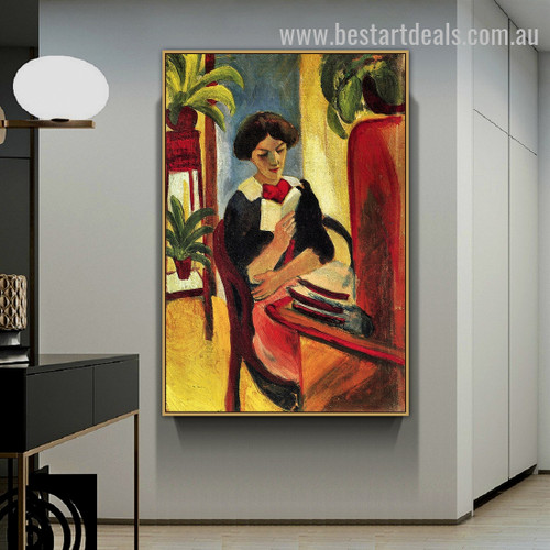 Elizabeth At Her Desk August Macke Figure Expressionism Effigy Photo Canvas Print for Room Wall Decoration