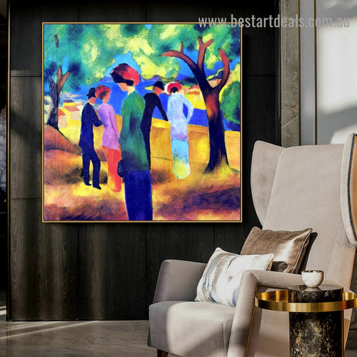 Lady in Green Jacket August Macke Botanical Figure Expressionist Artwork Photo Canvas Print for Room Wall Ornament