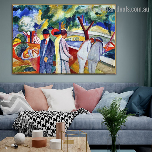 Large Bright Walk August Macke Botanical Figure Expressionist Artwork Image Canvas Print for Room Wall Adornment