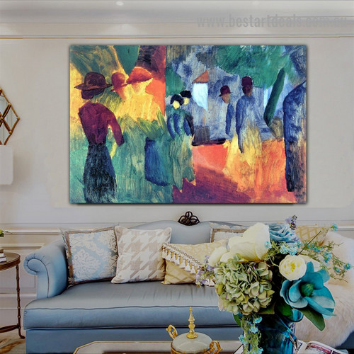 People in the Park August Macke Botanical Figure Expressionist Portrait Picture Canvas Print for Room Wall Garniture