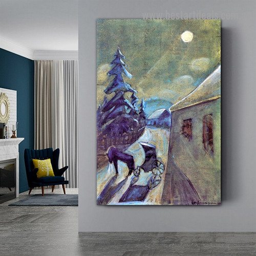 Moonscape with Horse Walter Gramatté Animal Landscape Expressionist Artwork Photo Canvas Print for Room Wall Adornment
