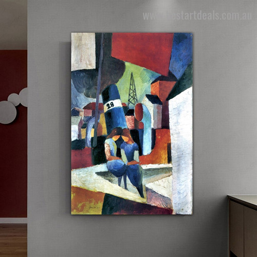 Dusiburger Port August Macke City Figure Expressionist Artwork Photo Canvas Print for Room Wall Garniture