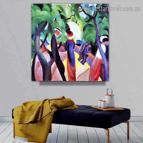 Promenade August Macke Botanical Figure Expressionist Portrait Picture Canvas Print for Room Wall Garniture