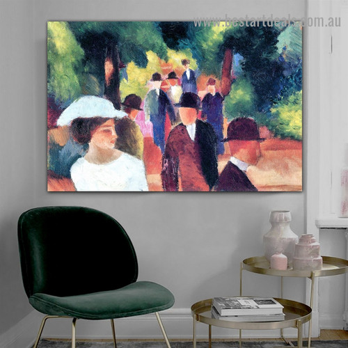 Promenade II August Macke Botanical Figure Expressionist Portrait Picture Canvas Print for Room Wall Garniture
