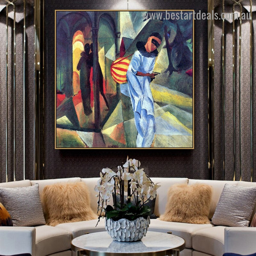 Pierrot August Macke Botanical Figure Expressionist Artwork Picture Canvas Print for Room Wall Garniture