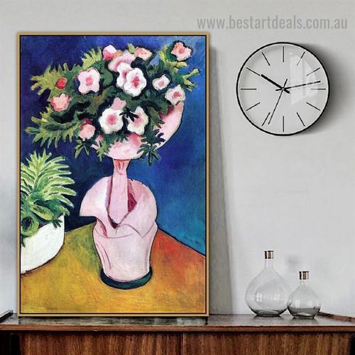 Rose Azaleas II August Macke Still Life Expressionist Artwork Image Canvas Print for Room Wall Ornament