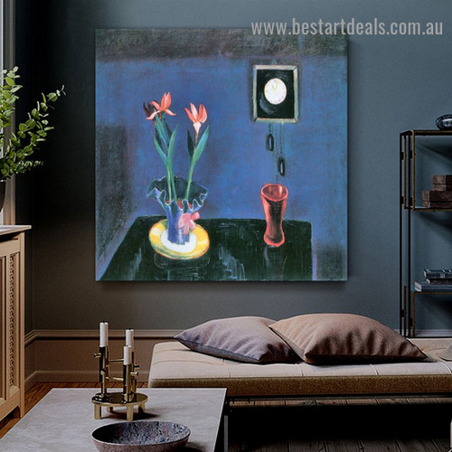 Still Life with Clock and Tulip Pot Walter Gramatté Expressionist Artwork Picture Canvas Print for Room Wall Ornament