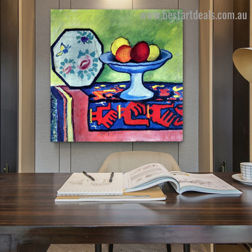 Still Life with Apple Peel And A Japanese Fan August Macke Expressionist Portrait Photo Canvas Print for Room Wall Adornment