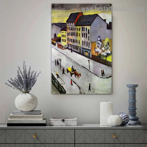 Our Street in Gray August Macke Cityscape Figure Expressionist Artwork Picture Canvas Print for Room Wall Ornament