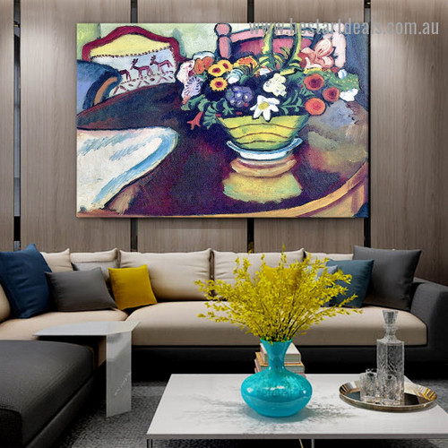 Still Life with Venison and Ostrich Pillow August Macke Expressionist Artwork Image Canvas Print for Room Wall Adornment