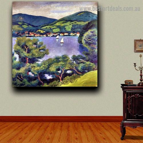 Tegern Sea Landscape August Macke Nature Expressionist Portrait Photo Canvas Print for Room Wall Adornment