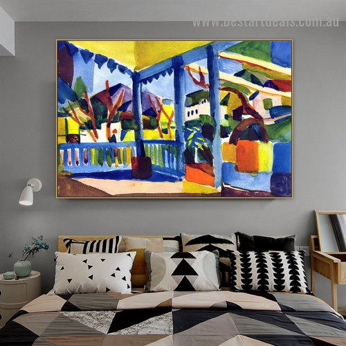Terrace of the Villa in St. Germain Landscape Abstract Expressionist Portrait Image Canvas Print for Room Wall Décor