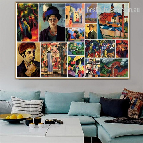 August Collage I Expressionism Portraiture Portrait Canvas Print for Room Wall Decor