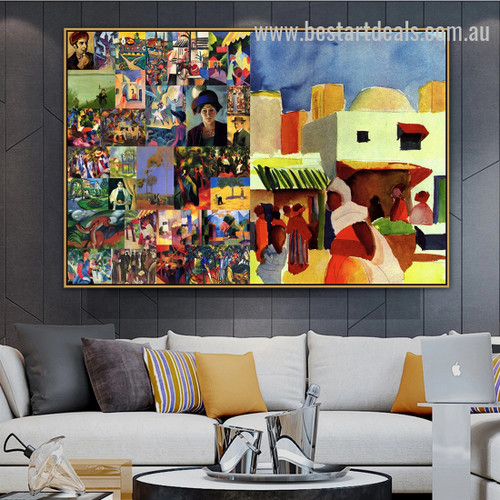 August Collage II Expressionism Painting Picture Canvas Print for Room Wall Arrangement