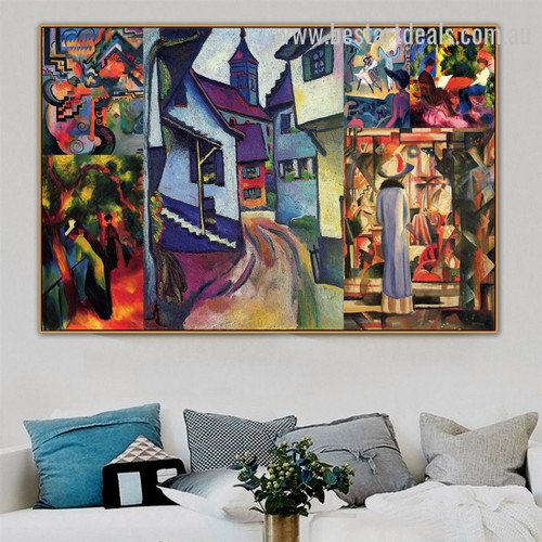 August Collage III Expressionism Artwork Picture Canvas Print for Room Wall Garniture