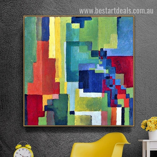 Colourful Shapes Abstract Expressionism Smudge Pic Canvas Print for Room Wall Onlay