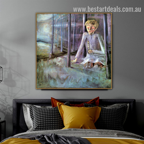 Dreaming Boy Figure Expressionism Effigy Portrait Canvas Print for Room Wall Garniture