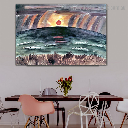 Sunset Walter Gramatté Landscape Expressionist Portrait Picture Canvas Print for Room Wall Garniture