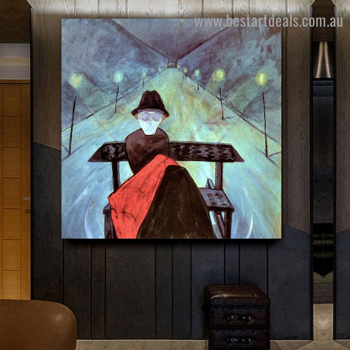 The Man in the Carriage II Walter Gramatté Figure Expressionist Portrait Photo Canvas Print for Room Wall Garniture