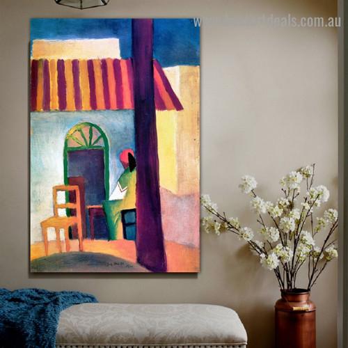 Turkish Cafe I August Macke Figure Landscape Expressionist Artwork Image Canvas Print for Room Wall Garniture