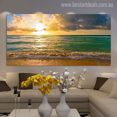 Sea Shore Seascape Modern Landscape Picture Canvas Print for Living Room Wall Drape