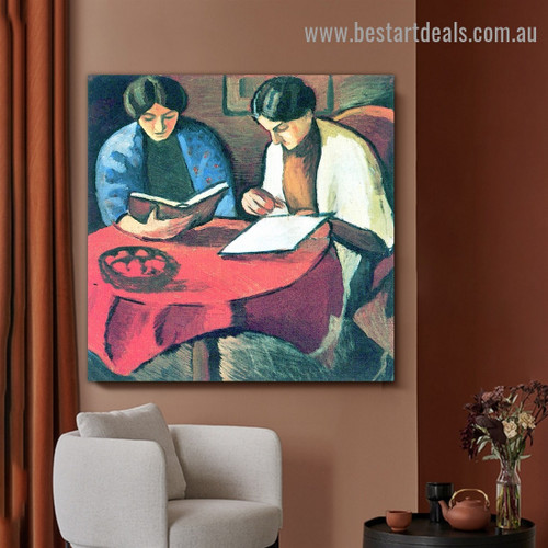 Two Women at the Table August Macke Figure Expressionist Artwork Picture Canvas Print for Room Wall Ornament