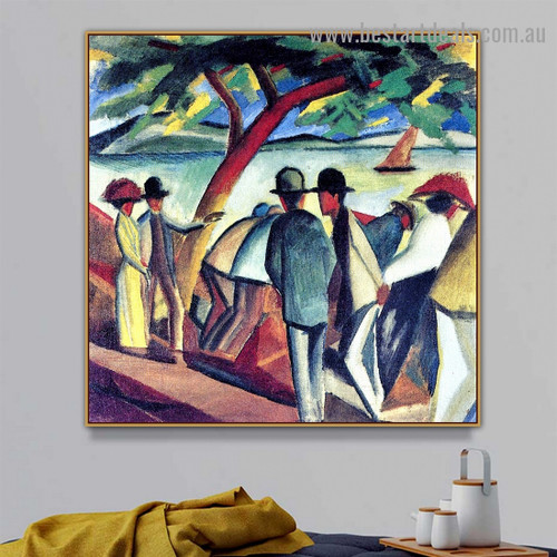 Walking at the Lake I August Macke Figure Landscape Expressionist Portrait Photo Canvas Print for Room Wall Décor