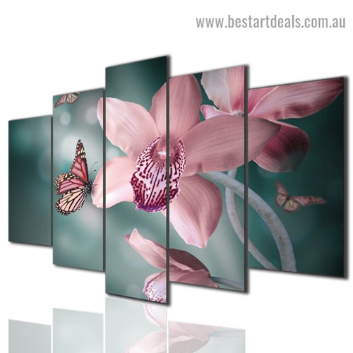 Orchid Butterfly Botanical Animal Modern Artwork Picture Canvas Print for Room Wall Décor