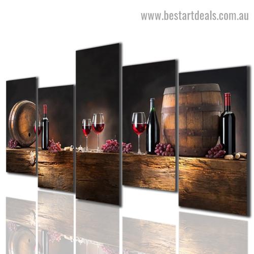 Wine Bottle Glass Food and Beverage Modern Artwork Image Canvas Print for Room Wall Garniture