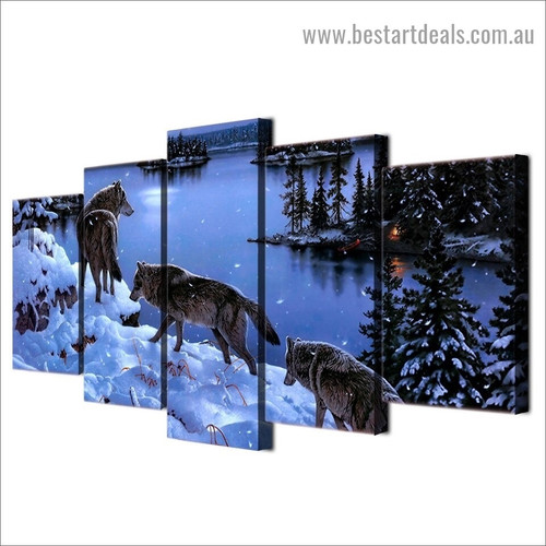 Winter Wolves Animal Landscape Modern Artwork Image Canvas Print for Room Wall Adornment