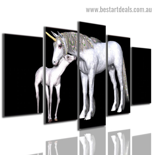 Unicorn and Foal Animal Botanical Modern Artwork Picture Canvas Print for Room Wall Décor