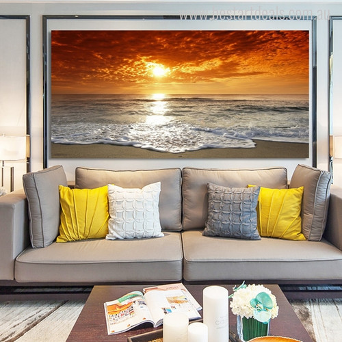 Seacoast Seascape Modern Landscape Picture Canvas Print for Living Room Wall Decor