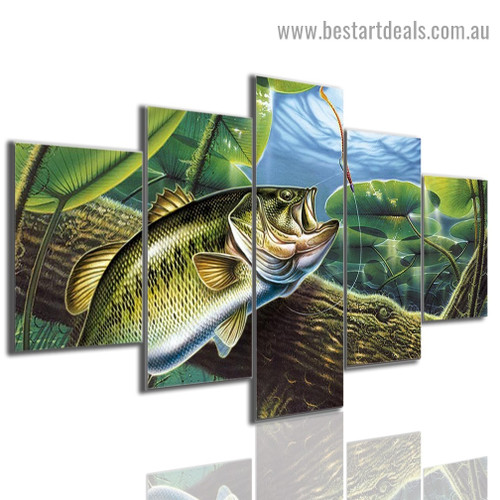 Bass Fish Animal Botanical Seascape Modern Artwork Picture Canvas Print for Room Wall Adornment