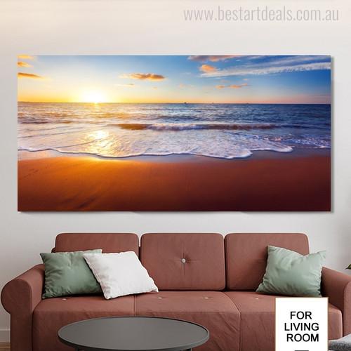 Seaside Seascape Modern Landscape Picture Canvas Print for Living Room Wall Drape