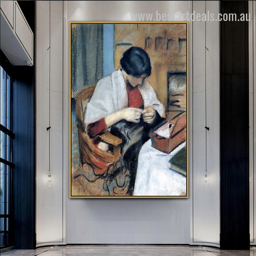 Elisabeth Gerhard Sewing Figure Expressionism Artwork Image Canvas Print for Room Wall Onlay