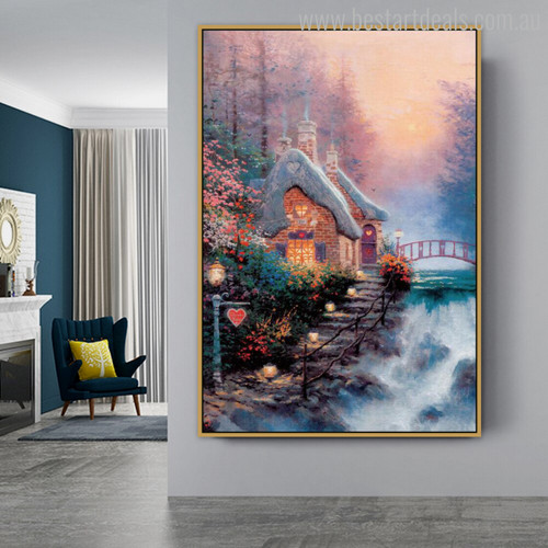 Sweetheart Cottage II Reproduction Painting Canvas Print for Room Wall Outfit
