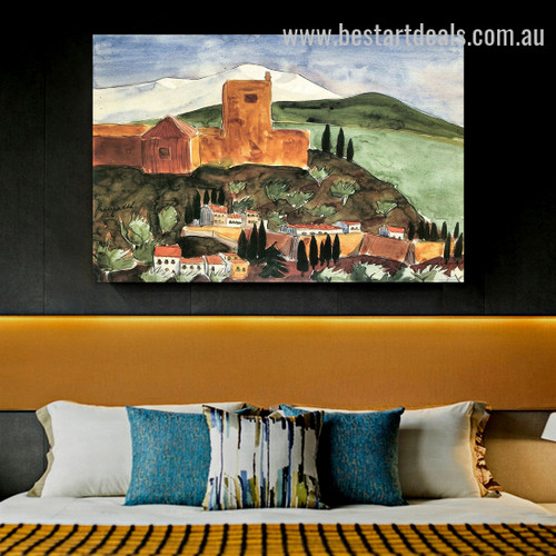 Granada II Landscape Cityscape Expressionism Painting Image Canvas Print for Room Wall Decoration