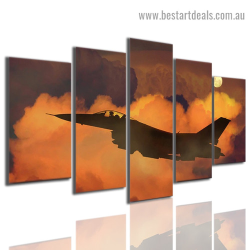Airplane in Clouds Travel Modern Artwork Picture Canvas Print for Room Wall Garniture