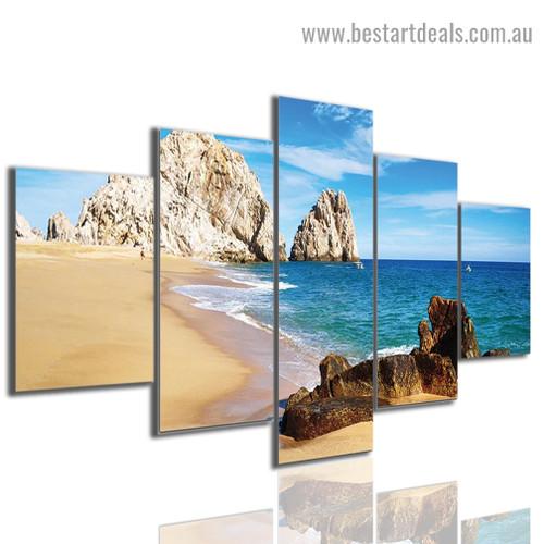 Seaside View Nature Landscape Modern Artwork Image Canvas Print for Room Wall Garniture