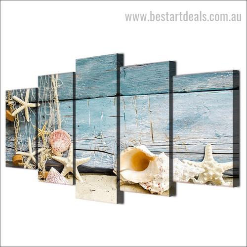 Seashells And Starfish Animal Modern Landscape Artwork Image Oversized Split Canvas Print
