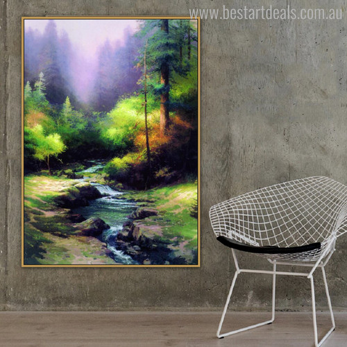 Creekside Trail Reproduction Painting Canvas Print for Lounge Room Wall Decor