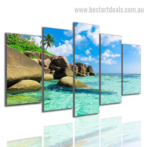 Beautiful Seascape Nature Landscape Modern Framed Effigy Pic Oversized Split Canvas Print