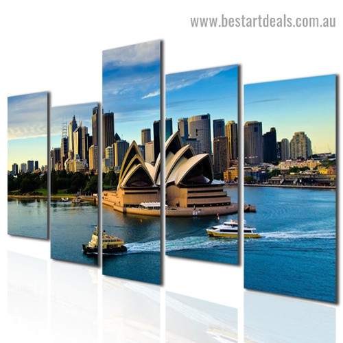 Sydney Opera House Cityscape Modern Artwork 5 Panel Wrapped Canvas Print for Room Wall Décor