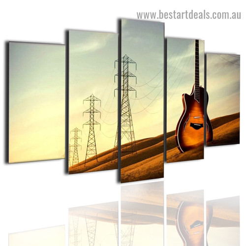 Vintage Tower Guitar Music Modern Artwork Five Piece Canvas Print for Room Wall Adornment