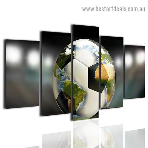 Globe Football Sport World Map Illustration Modern Painting 5 Panel Split Canvas Print for Room Wall Adornment