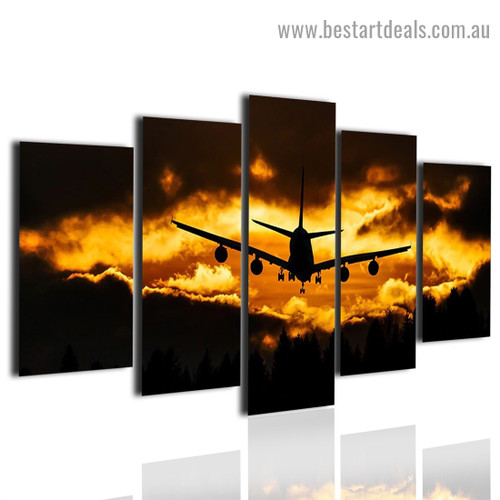Airplane Sunset Travel Modern Artwork 5 Panel Wrapped Canvas Print for Room Wall Decoration